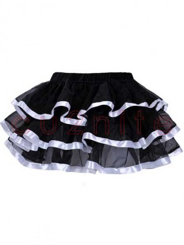 Burlesque Tulle Pettiskirt with White Satin Trim