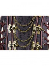 Royalty Vintage Brown Brocade Steel Bone Overbust Corset