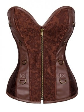 Steampunk Jacquard& Faux Leather Overbust Corset