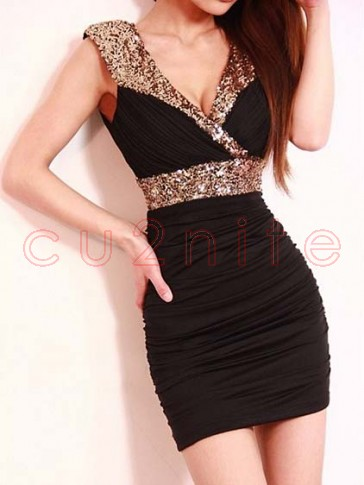 Sequin Black Mini Dress