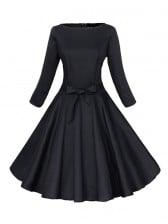 Classic 1950's Vintage Pure Black Long Sleeves Casual Cocktail Party Dress