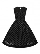 1950s Vintage Rockabilly Polka Dot Print Mesh Cocktail Swing Dress