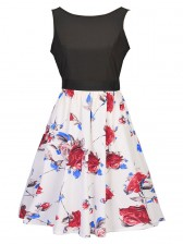 Women's Vintage Sleeveless Floral Swing Dress With Belt