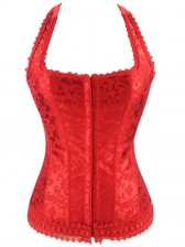 Fashion Elegant Red Halter Satin Jacquard Weave Lace Edge Corset