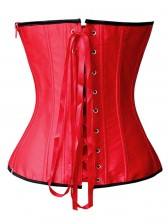Hot Sexy Red Satin Black Sequins Flowers Lace-up Overbust Corset
