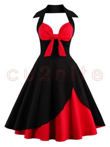 Charming Patchwork Halter Cocktail Party Dress