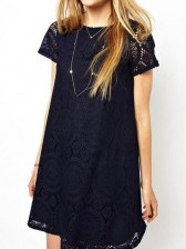 Dark Blue Round Neck Short Sleeve Lace Dress