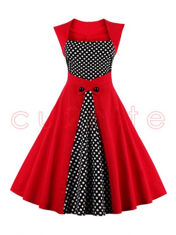 Charming Polka Dot Patchwork Sleeveless Cocktail Party Dress Red