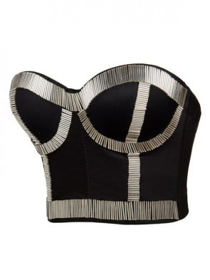 Silver Metal Stick Black Underwire B CUP Bustier Crop Top Bra