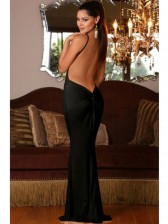 Sexy Black Deep V Evening Maxi Dress