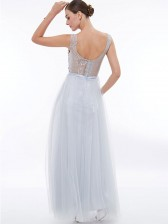 Women's Elegant White Round Neck Sleeveless Tulle Appliques Evening Party Dress