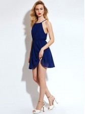 High Waist Halter Chiffon Pleated Solid Short Dress