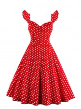 1950s Vintage Sleeveless Polka Dot A line Casual Cocktail Dress Red