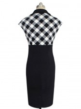 1950's Retro Plaid Print Rockabilly Party Midi Pencil Wiggle Dress