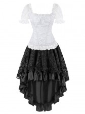 Bridal Jacquard Short Sleeves Corset Top&Skirt Set