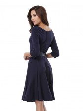 Scoop Neck Solid Casual Swing Knee Length Dress