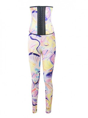 Fashion Stellar Print Athletic Racer Underbust Steel Bone Corset Top & Yoga Leggings Set