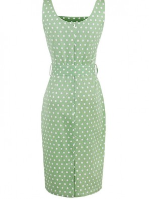 Hot Selling Vintage Square Neck Thick Straps Polka Dot Bodycon Dress
