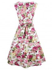 Elegant 1950's Vintage Floral Print Sleeveless Casual Cocktail Party Swing Dress Mix