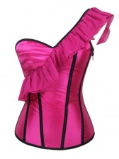 Rose One Shoulder Satin Side Zipper Overbust Corset