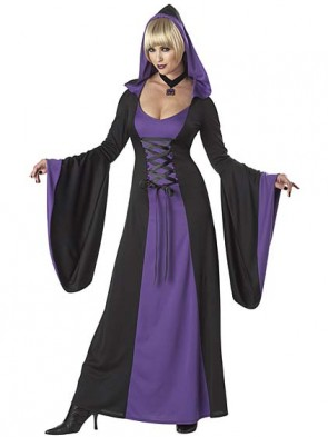 Deluxe Purple Hooded Robe Vampiress Costume