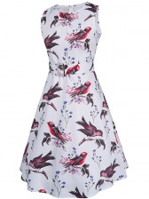 1950's Women Vintage Floral Bird Print Sleeveless Dress