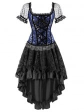 Organza Sleevees Brocade Corset Top&Skirt Set