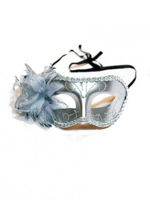 Hand Held Masquerade Mask with Side Flower and Feathers - Silver
