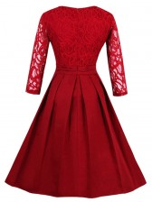Charming Round Neck 3/4 Sleeves Floral Lace Cocktail Party Swing Dress