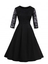 Charming Round Neck 3/4 Sleeves Floral Lace Cocktail Party Swing Dress Black
