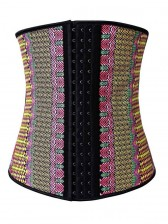 Exclusive Colorful Steel Bone Latex Geometric Patterns Underbust Corset