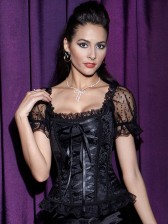 Brocade Lace Up Sleeveed Corset