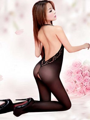 Black Halter Style Crotchless Body Stocking
