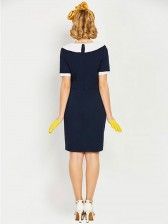 Hot Selling Vintage Peter Pan Collar Short Sleeve Bodycon Dress