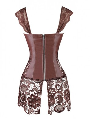 Steampunk Coffee-Brown Faux Leather Long Lace Embellished Corset with Lace Skirt