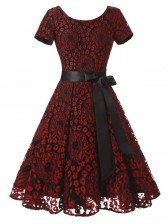 Vintage Floral Lace Short Sleeve Evening Party Swing Dress Red Black