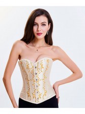 Women's Victorian Sweatheart Neck 14 Steel Boned Embroidery Overbust Corset Apricot