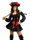Clearance! Vixen Pirate Wench Costume with Pirate Hat - Black