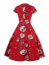 Fashion Classical Vintage Women Cap Sleeves Floral Skull Print Swing Dress