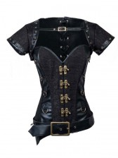 Steampunk Steel Bone Black Lace Trim Overbust Corset with Jacket & Belt