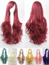 80cm Long Solid Colour Curly Cosplay Wigs