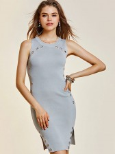 Women's Sexy Rivets Sleeveless Wide Strap Bodycon Dresses