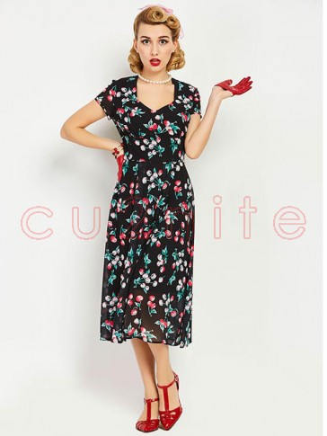 Sexy Women's Cut Out Neck Short Sleeve Floral Print Swing Dress