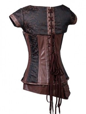 Steampunk Brown Jacquard Steel Boned Busk Closure Corset with Jacket and belt
