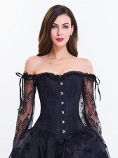 Women's Fashion Plastic Boned Black Overbust Corset with Long Floral Lace Sleeve