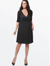 Women's Casual Plus Size Elbow Sleeve V Neck Loose Style Midi Dresses Black