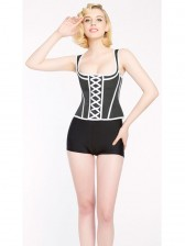 Sexy Black and White Latex Steel Boned Wide Shoulder Straps Laces Bustier Corset