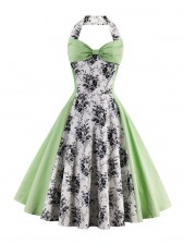 1950's Vintage Green Bowknot Floral Print Halter Cocktail Swing Dress