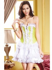 Satin Ruffled Strapless Corset