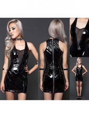 Fashion Black Bright Vinyl Zipper Back Sleeveless Mini Dress